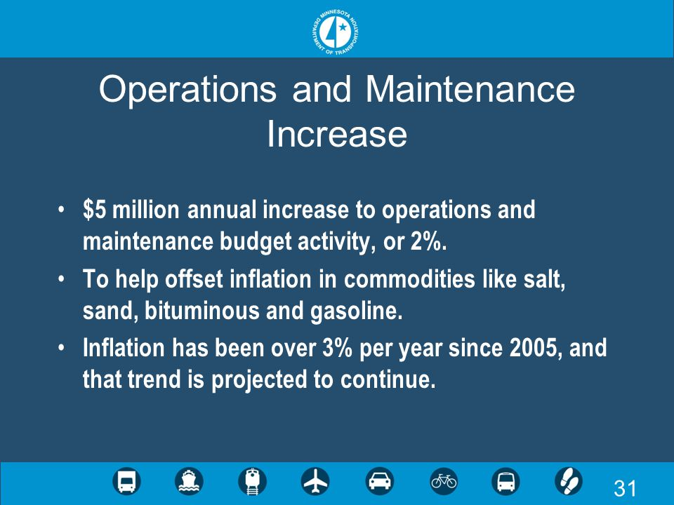 31 Operations and Maintenance Increase $5 million annual increase to operations and maintenance budget activity, or 2%. To help offset inflation in co