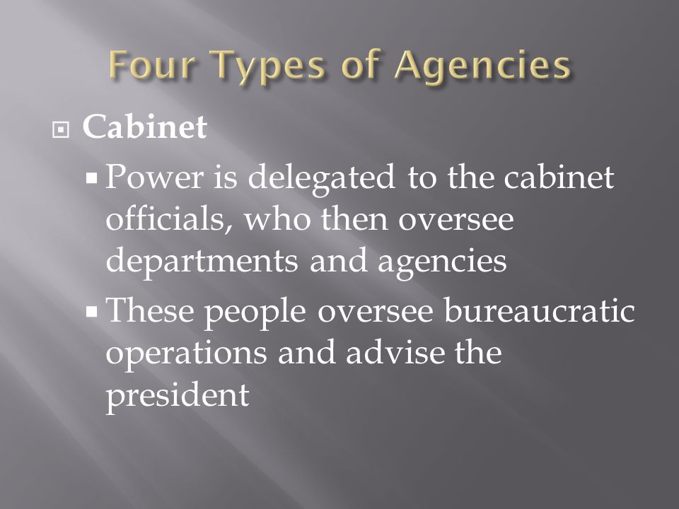  Cabinet  Power is delegated to the cabinet officials, who then oversee departments and agencies  These people oversee bureaucratic operations and