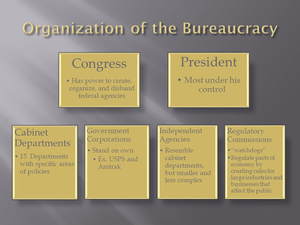 Congress Has power to create, organize, and disband federal agencies Cabinet Departments 15 Departments with specific areas of policies President Most