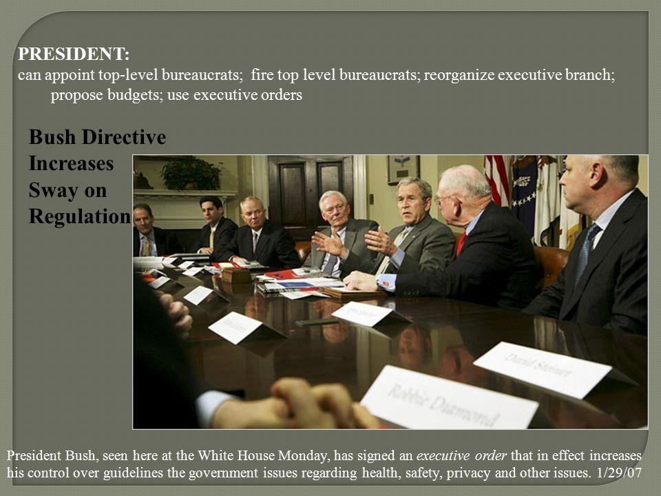 PRESIDENT: can appoint top-level bureaucrats; fire top level bureaucrats; reorganize executive branch; propose budgets; use executive orders Bush Dire