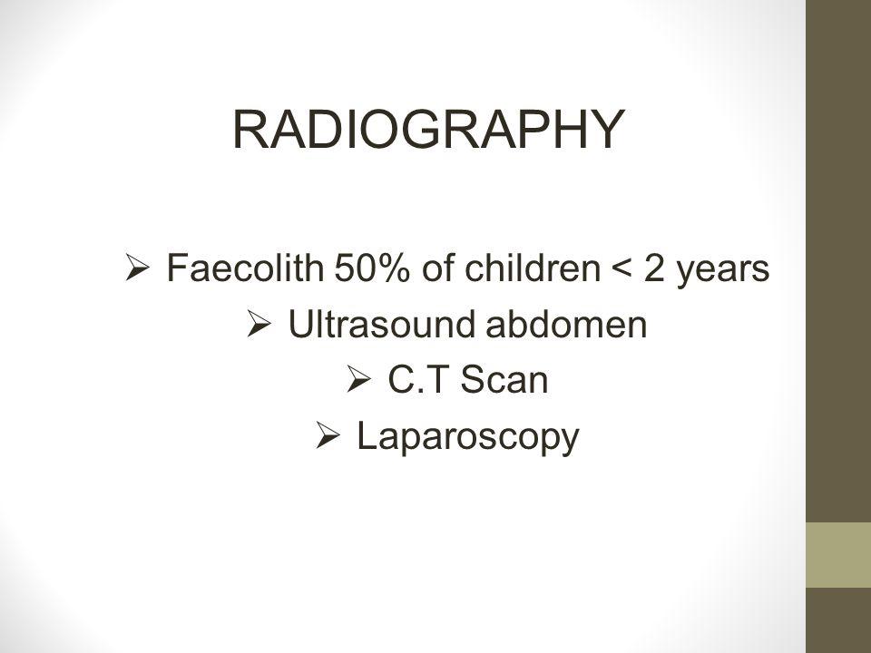 RADIOGRAPHY  Faecolith 50% of children < 2 years  Ultrasound abdomen  C.T Scan  Laparoscopy