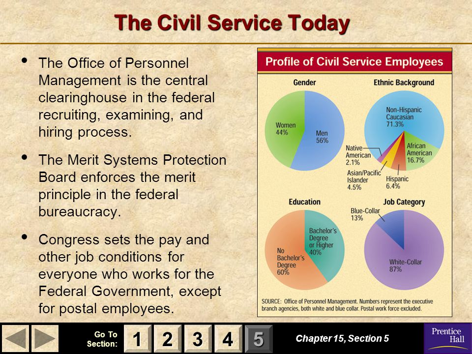 123 Go To Section: 4 5 The Civil Service Today Chapter 15, Section 5 3333 4444 1111 2222 The Office of Personnel Management is the central clearinghouse in the federal recruiting, examining, and hiring process.