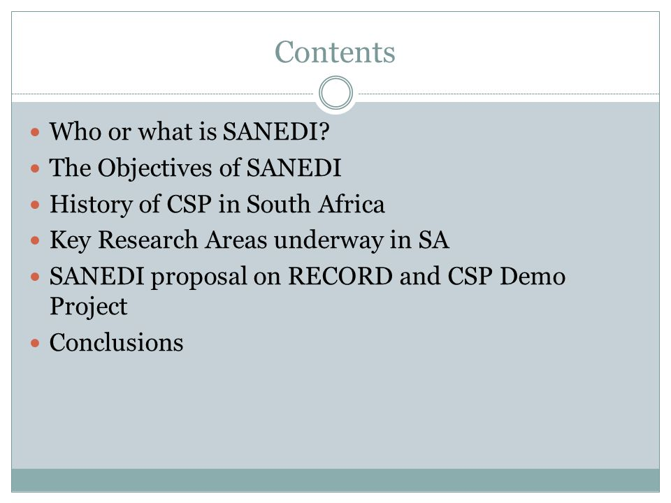 Contents Who or what is SANEDI.