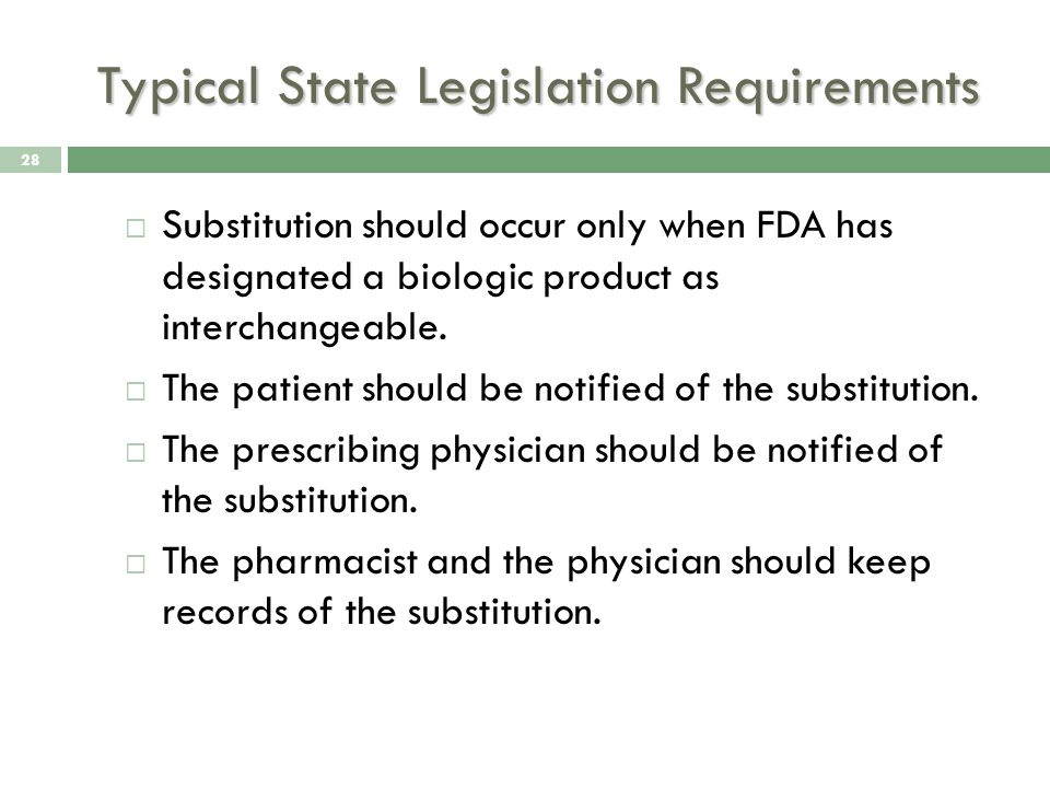 Typical State Legislation Requirements  Substitution should occur only when FDA has designated a biologic product as interchangeable.
