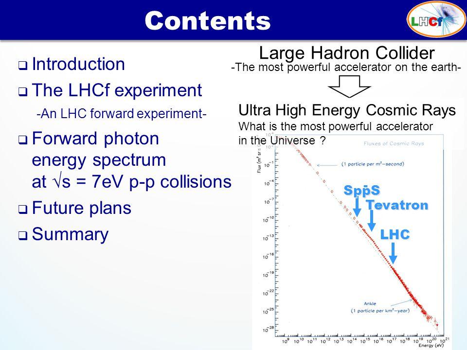  Introduction  The LHCf experiment -An LHC forward experiment-  Forward photon energy spectrum at √s = 7eV p-p collisions  Future plans  Summary