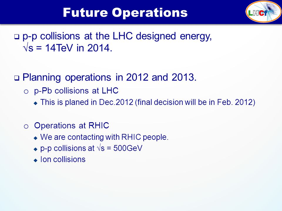  p-p collisions at the LHC designed energy, √s = 14TeV in 2014.