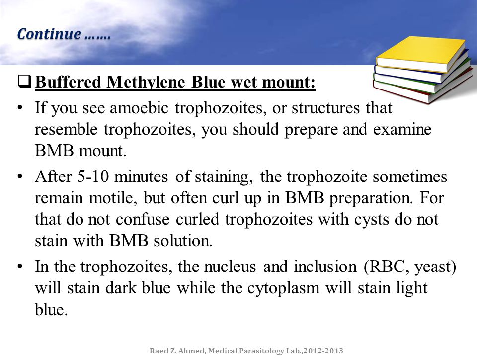 Occasionally, some trophozoite will not stain, so you should look for well- stained organisms.