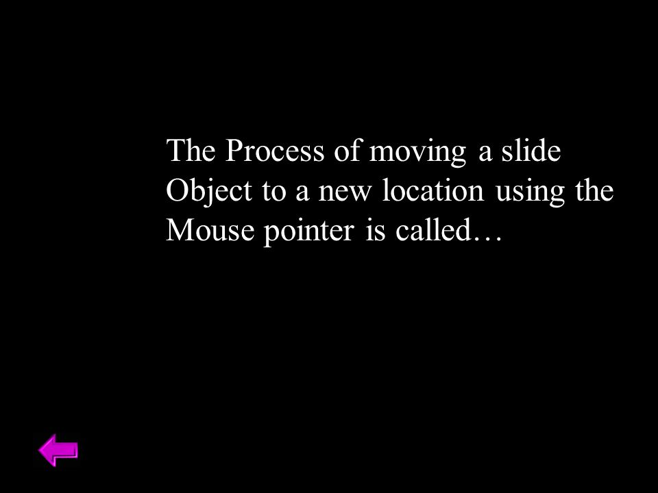 The Process of moving a slide Object to a new location using the Mouse pointer is called…