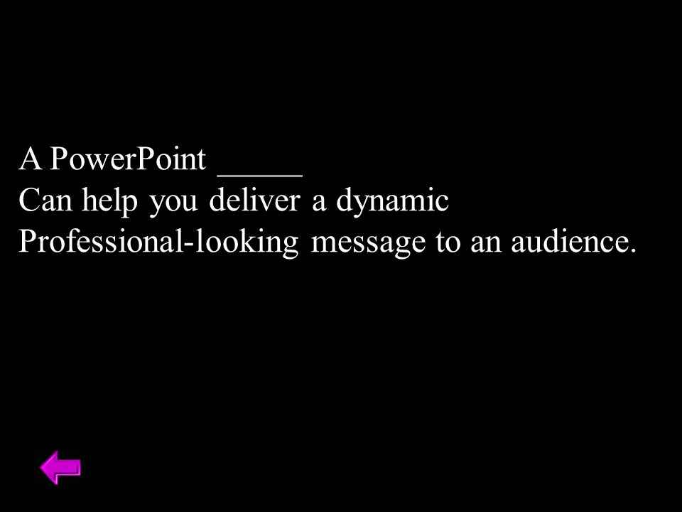 A PowerPoint _____ Can help you deliver a dynamic Professional-looking message to an audience.