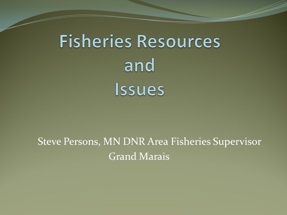 Steve Persons, MN DNR Area Fisheries Supervisor Grand Marais