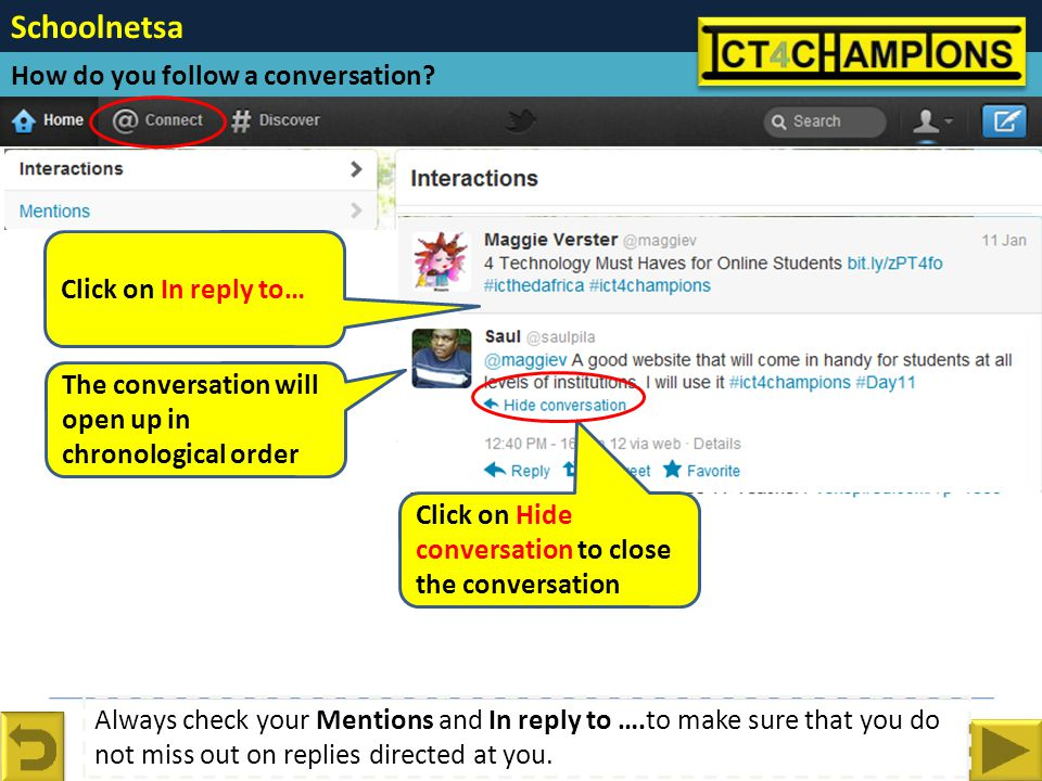 Schoolnetsa How do you follow a conversation.