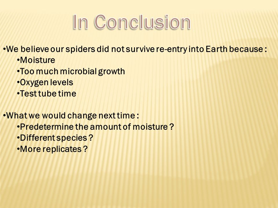 We believe our spiders did not survive re-entry into Earth because : Moisture Too much microbial growth Oxygen levels Test tube time What we would change next time : Predetermine the amount of moisture .