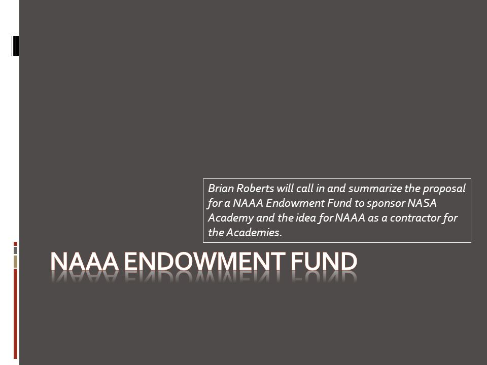 Brian Roberts will call in and summarize the proposal for a NAAA Endowment Fund to sponsor NASA Academy and the idea for NAAA as a contractor for the Academies.