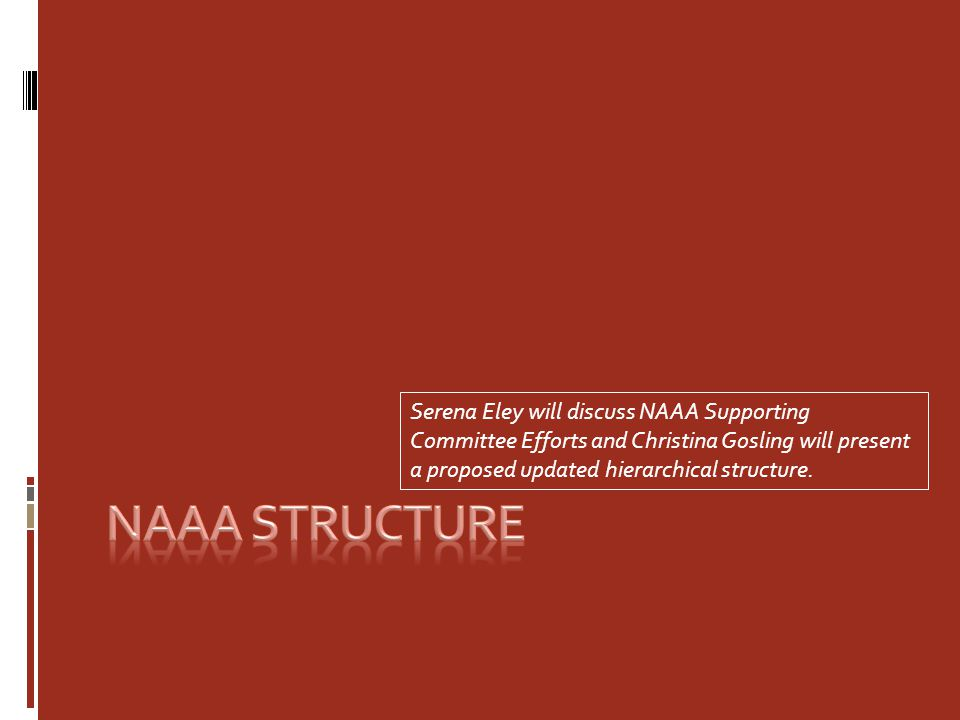 Serena Eley will discuss NAAA Supporting Committee Efforts and Christina Gosling will present a proposed updated hierarchical structure.