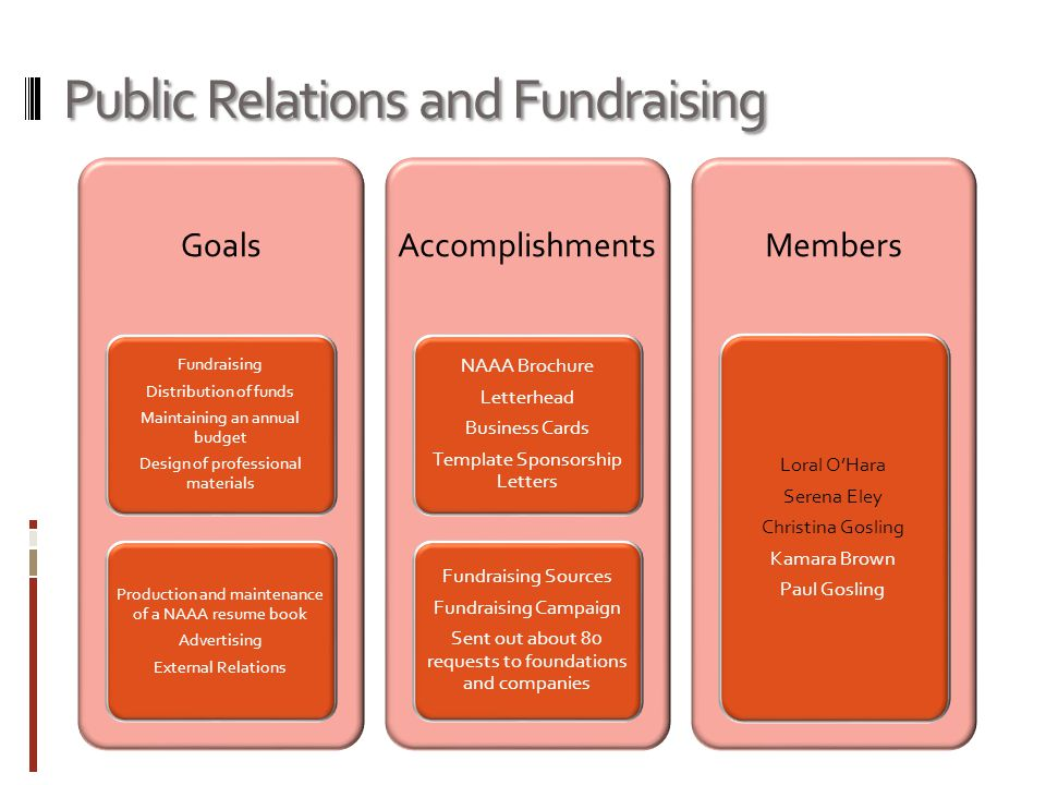 Public Relations and Fundraising Goals Fundraising Distribution of funds Maintaining an annual budget Design of professional materials Production and maintenance of a NAAA resume book Advertising External Relations Accomplishments NAAA Brochure Letterhead Business Cards Template Sponsorship Letters Fundraising Sources Fundraising Campaign Sent out about 80 requests to foundations and companies Members Loral O'Hara Serena Eley Christina Gosling Kamara Brown Paul Gosling