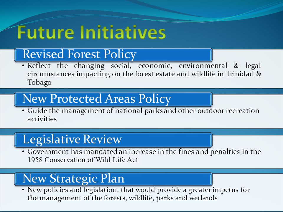 Reflect the changing social, economic, environmental & legal circumstances impacting on the forest estate and wildlife in Trinidad & Tobago Revised Forest Policy Guide the management of national parks and other outdoor recreation activities New Protected Areas Policy Government has mandated an increase in the fines and penalties in the 1958 Conservation of Wild Life Act Legislative Review New policies and legislation, that would provide a greater impetus for the management of the forests, wildlife, parks and wetlands New Strategic Plan