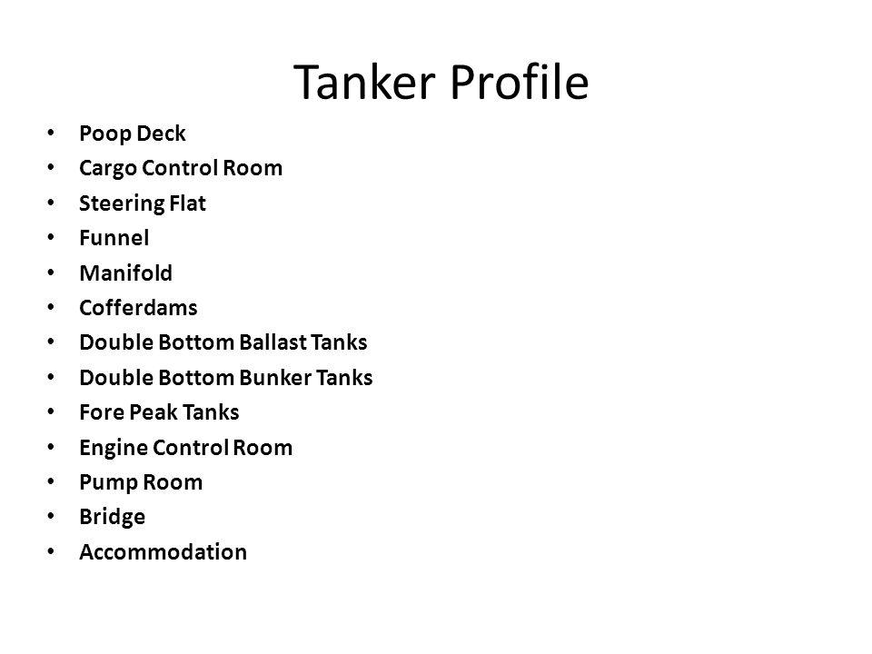 Tanker Profile Poop Deck Cargo Control Room Steering Flat Funnel Manifold Cofferdams Double Bottom Ballast Tanks Double Bottom Bunker Tanks Fore Peak