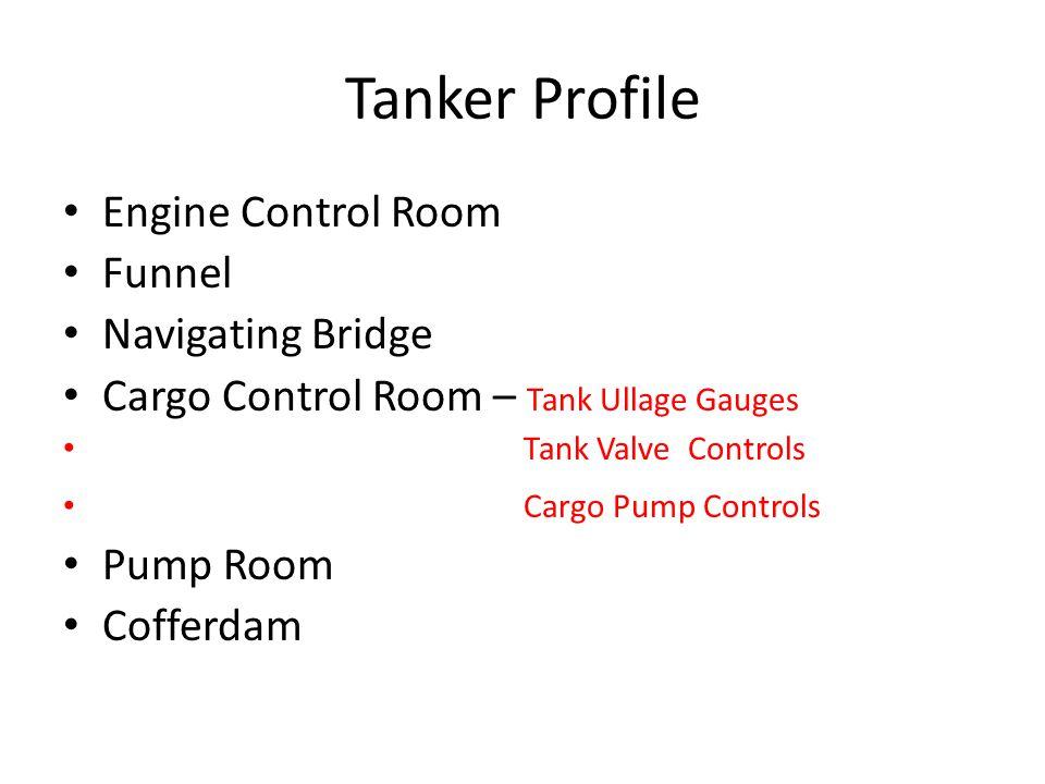 Tanker Profile Engine Control Room Funnel Navigating Bridge Cargo Control Room – Tank Ullage Gauges Tank Valve Controls Cargo Pump Controls Pump Room