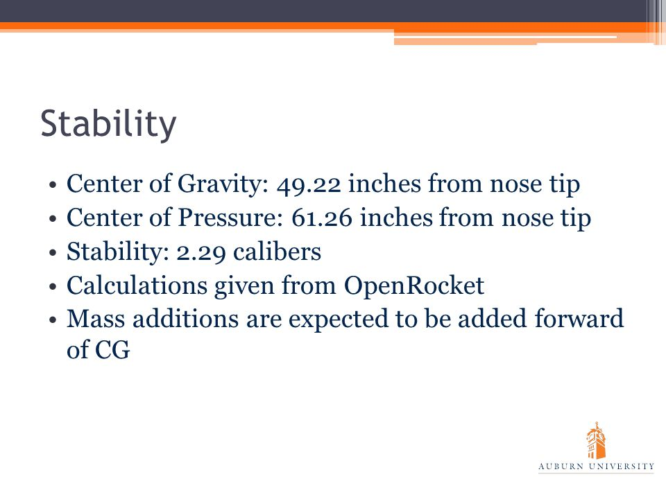 Stability Center of Gravity: 49.22 inches from nose tip Center of Pressure: 61.26 inches from nose tip Stability: 2.29 calibers Calculations given from OpenRocket Mass additions are expected to be added forward of CG
