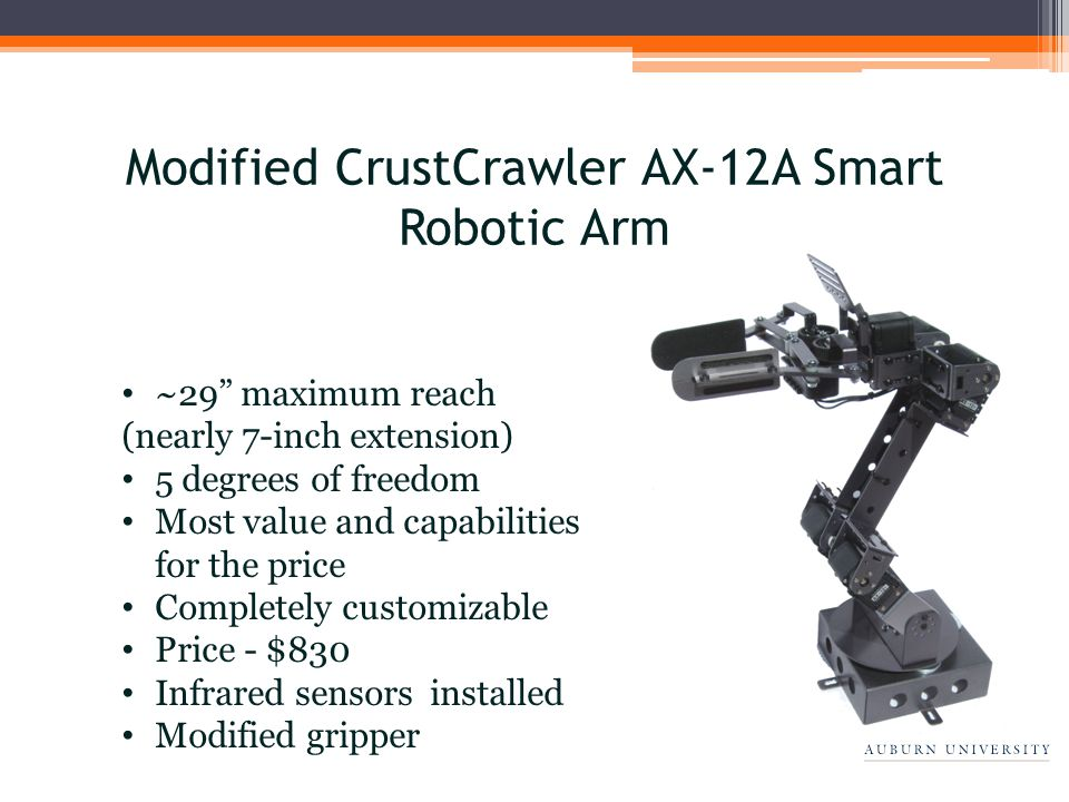~29 maximum reach (nearly 7-inch extension) 5 degrees of freedom Most value and capabilities for the price Completely customizable Price - $830 Infrared sensors installed Modified gripper Modified CrustCrawler AX-12A Smart Robotic Arm
