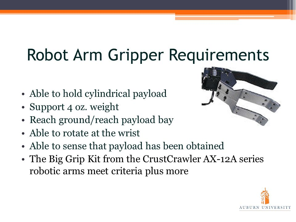 Robot Arm Gripper Requirements Able to hold cylindrical payload Support 4 oz.