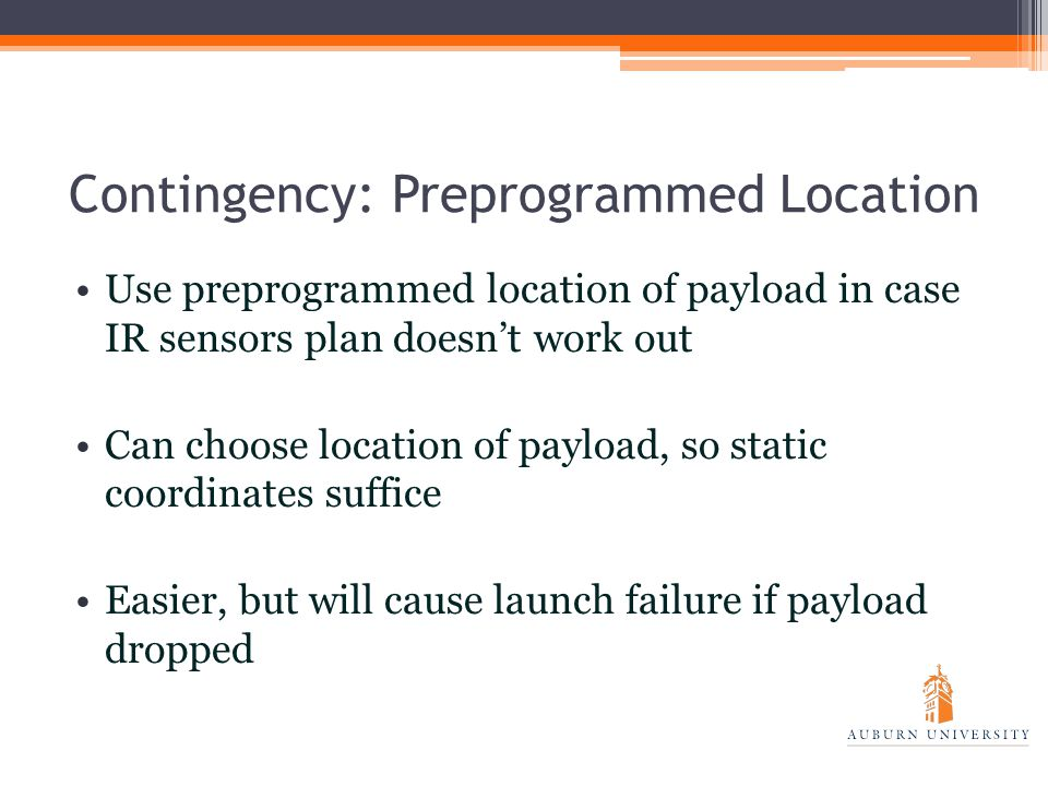 Contingency: Preprogrammed Location Use preprogrammed location of payload in case IR sensors plan doesn't work out Can choose location of payload, so static coordinates suffice Easier, but will cause launch failure if payload dropped