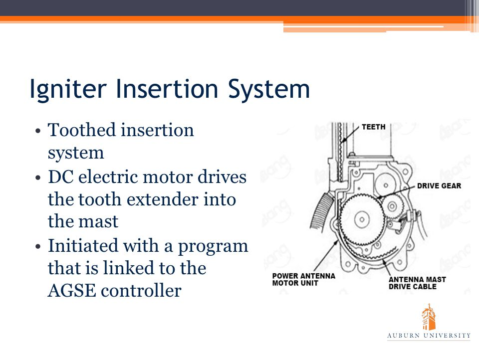 Igniter Insertion System Toothed insertion system DC electric motor drives the tooth extender into the mast Initiated with a program that is linked to the AGSE controller