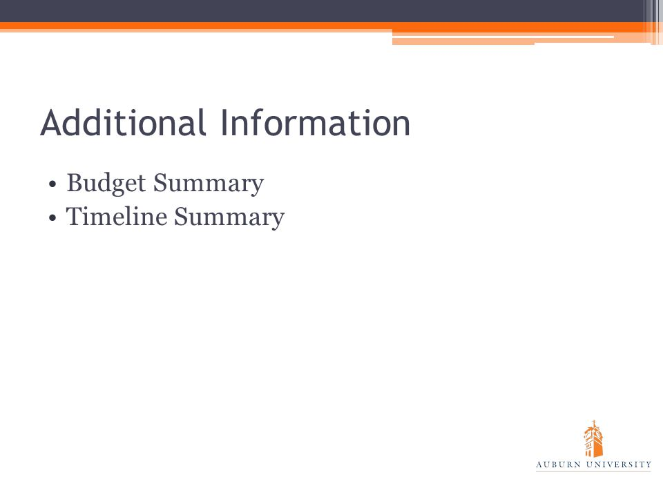 Additional Information Budget Summary Timeline Summary