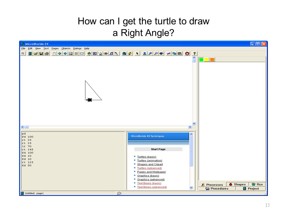 15 How can I get the turtle to draw a Right Angle?