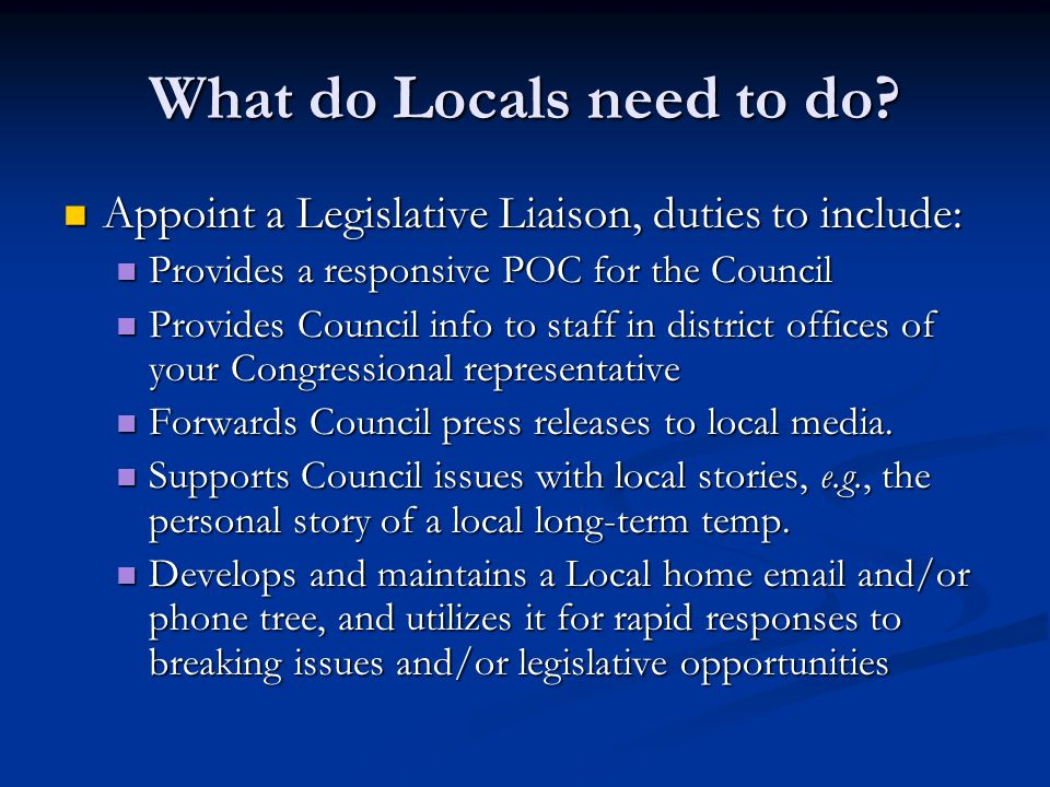 What do Locals need to do.