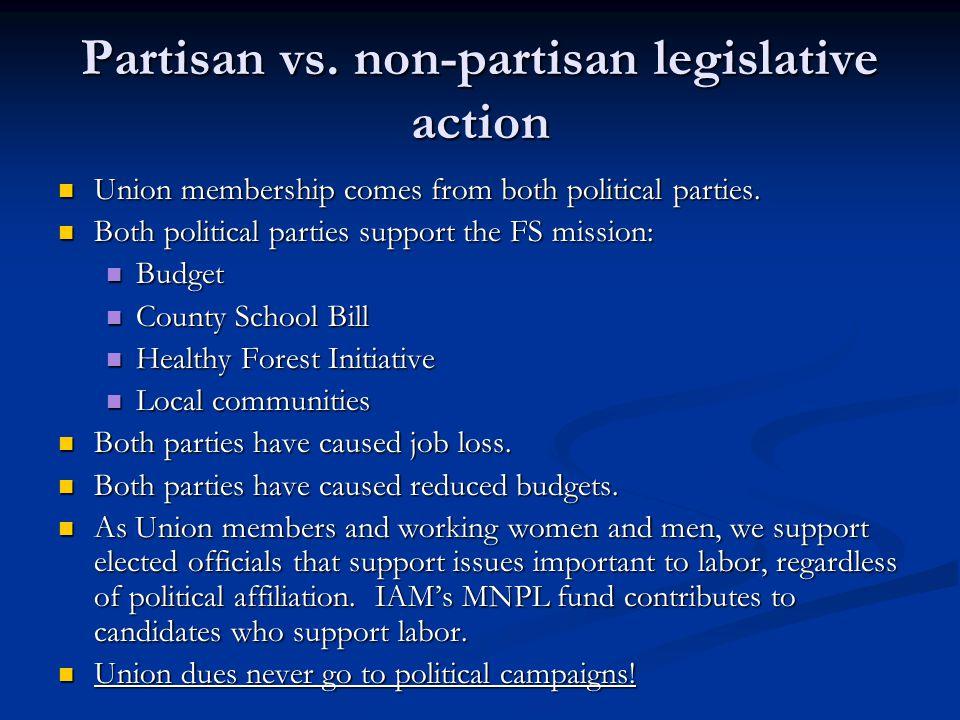 Partisan vs. non-partisan legislative action Union membership comes from both political parties. Union membership comes from both political parties. B