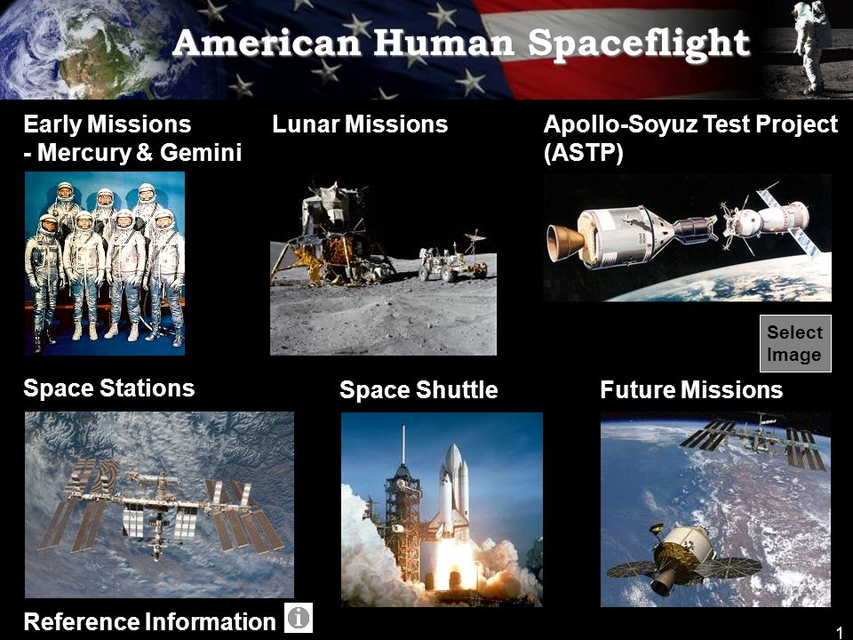 1 American Human Spaceflight Early Missions - Mercury & Gemini Lunar Missions Space Stations Space ShuttleFuture Missions Reference Information Apollo-Soyuz Test Project (ASTP) Select Image