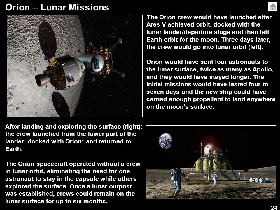 24 Orion – Lunar Missions The Orion crew would have launched after Ares V achieved orbit, docked with the lunar lander/departure stage and then left Earth orbit for the moon.