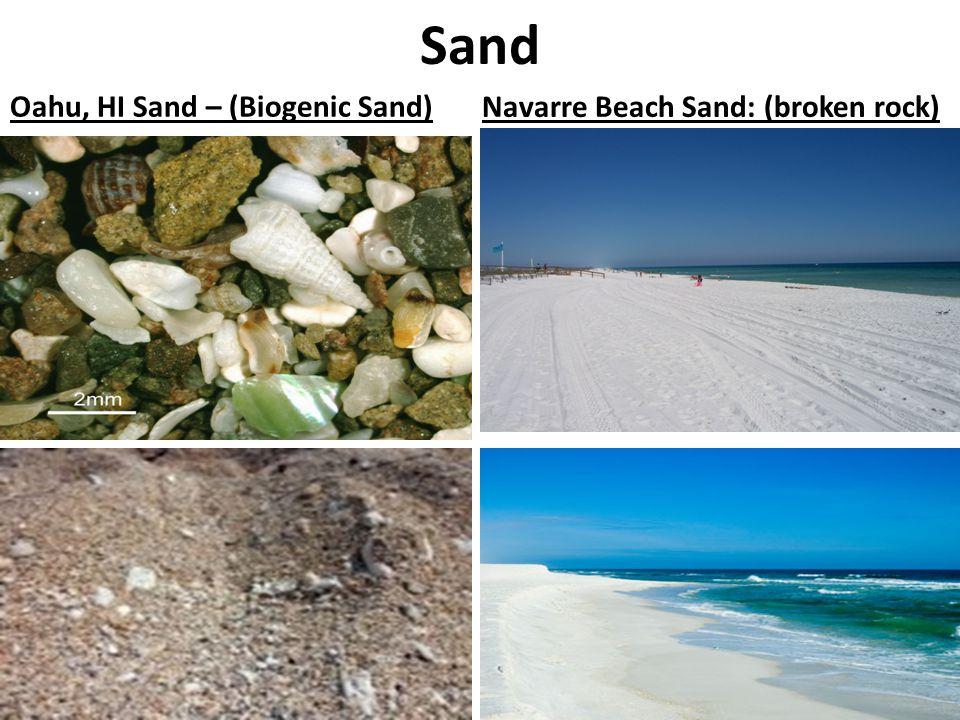 Sand Oahu, HI Sand – (Biogenic Sand)Navarre Beach Sand: (broken rock)