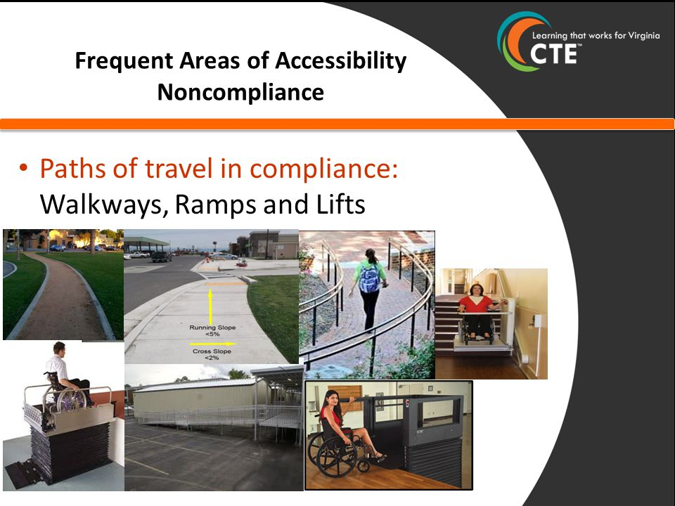 Frequent Areas of Accessibility Noncompliance Paths of travel in compliance: Walkways, Ramps and Lifts