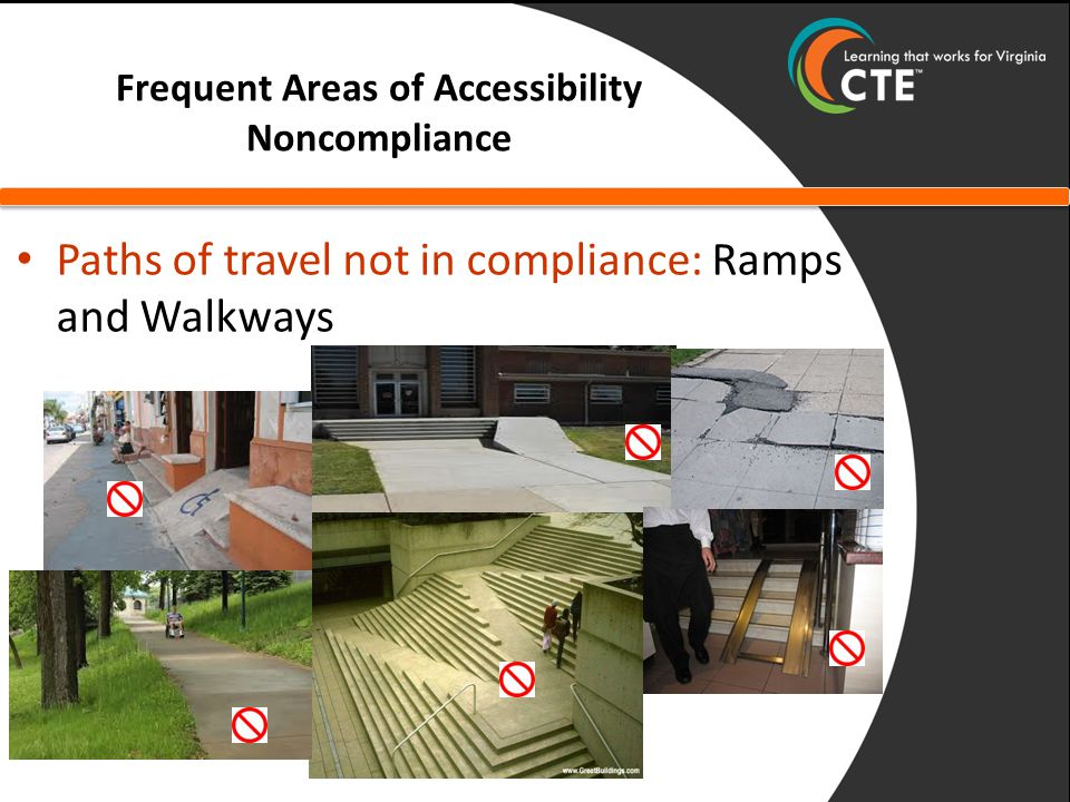 Frequent Areas of Accessibility Noncompliance Paths of travel not in compliance: Ramps and Walkways