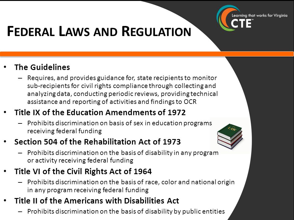 F EDERAL L AWS AND R EGULATION The Guidelines – Requires, and provides guidance for, state recipients to monitor sub-recipients for civil rights compliance through collecting and analyzing data, conducting periodic reviews, providing technical assistance and reporting of activities and findings to OCR Title IX of the Education Amendments of 1972 – Prohibits discrimination on basis of sex in education programs receiving federal funding Section 504 of the Rehabilitation Act of 1973 – Prohibits discrimination on the basis of disability in any program or activity receiving federal funding Title VI of the Civil Rights Act of 1964 – Prohibits discrimination on the basis of race, color and national origin in any program receiving federal funding Title II of the Americans with Disabilities Act – Prohibits discrimination on the basis of disability by public entities