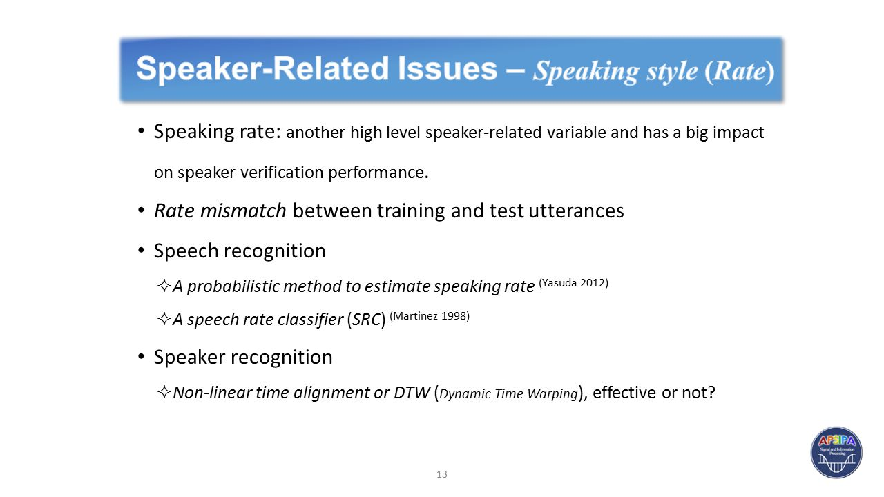 Speaking rate: another high level speaker-related variable and has a big impact on speaker verification performance.
