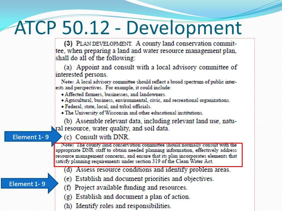 ATCP 50.12 - Development Element 1- 9