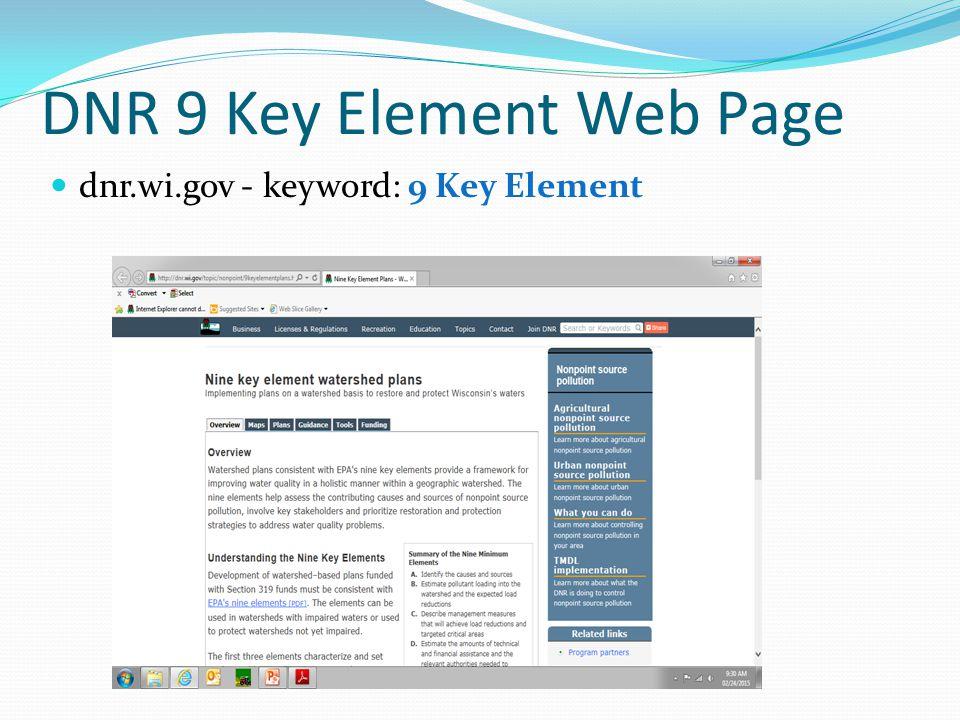 DNR 9 Key Element Web Page dnr.wi.gov - keyword: 9 Key Element