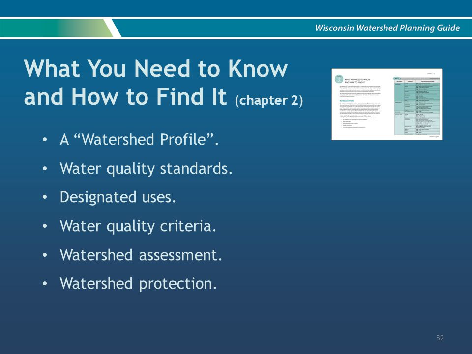 What You Need to Know and How to Find It (chapter 2) A Watershed Profile .
