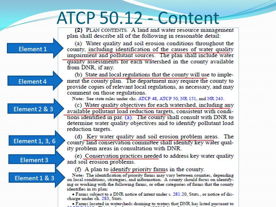 ATCP 50.12 - Content Element 1 Element 4 Element 2 & 3 Element 1, 3, 6 Element 3 Element 1 & 3