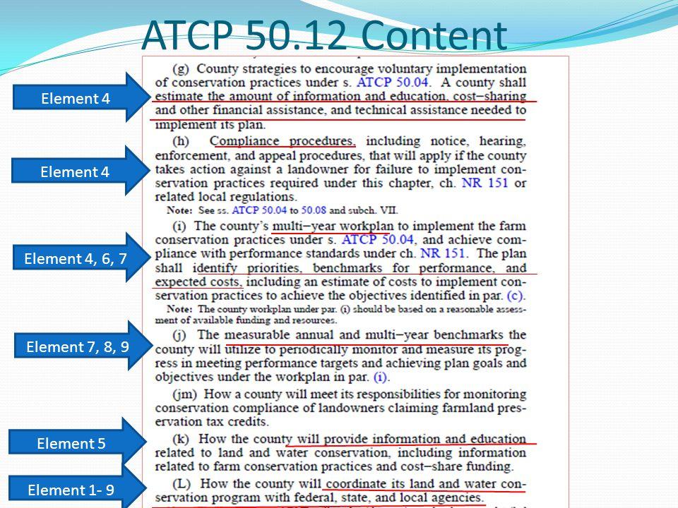 ATCP 50.12 Content Element 4 Element 4, 6, 7 Element 7, 8, 9 Element 1- 9 Element 5