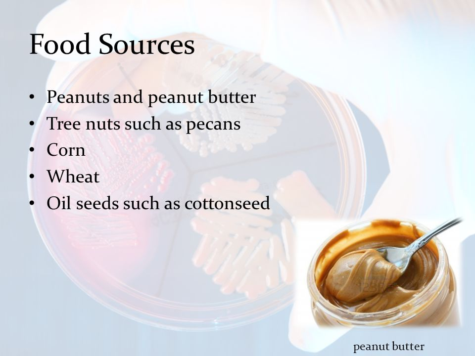 Food Sources Peanuts and peanut butter Tree nuts such as pecans Corn Wheat Oil seeds such as cottonseed peanut butter
