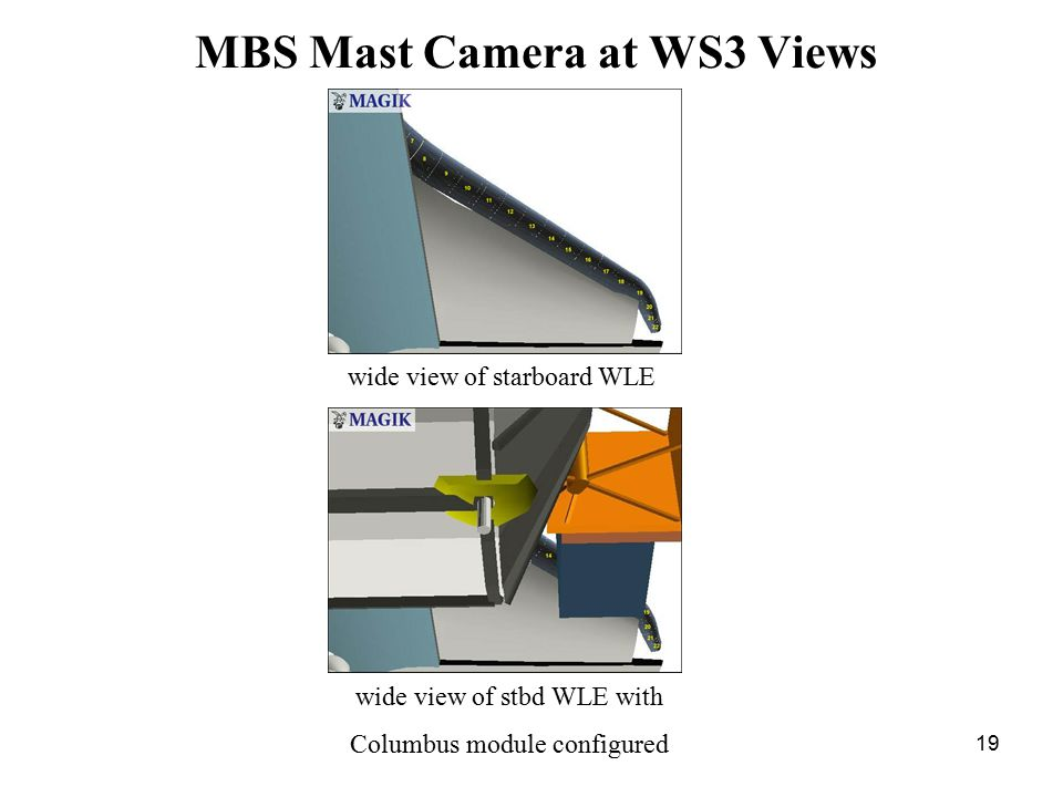 19 MBS Mast Camera at WS3 Views wide view of starboard WLE wide view of stbd WLE with Columbus module configured