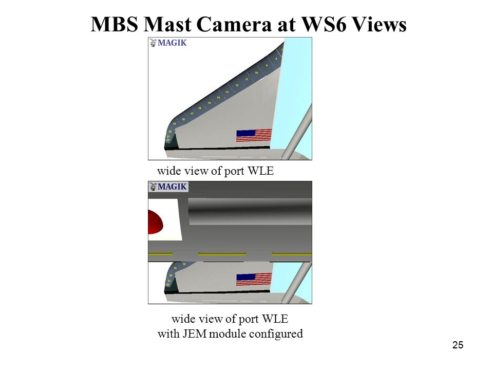 25 MBS Mast Camera at WS6 Views wide view of port WLE with JEM module configured wide view of port WLE
