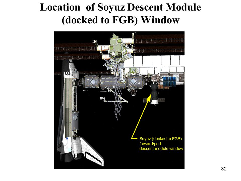 32 Location of Soyuz Descent Module (docked to FGB) Window
