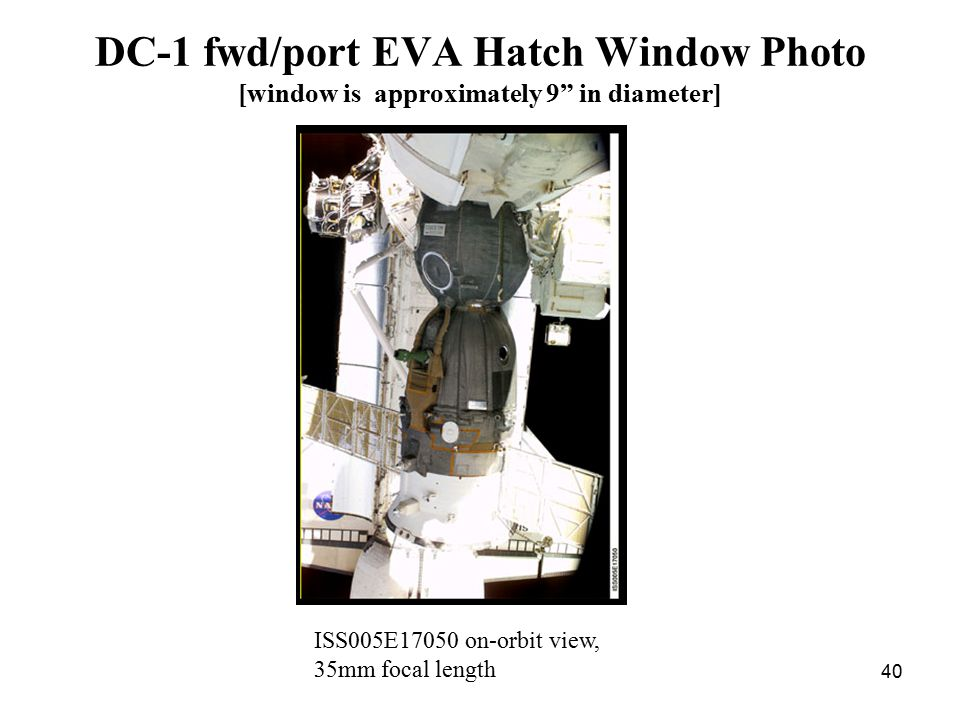 "40 DC-1 fwd/port EVA Hatch Window Photo [window is approximately 9"" in diameter] ISS005E17050 on-orbit view, 35mm focal length"
