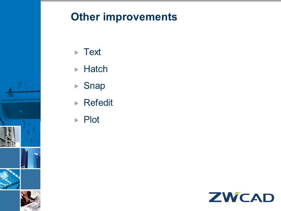 Other improvements  Text  Hatch  Snap  Refedit  Plot