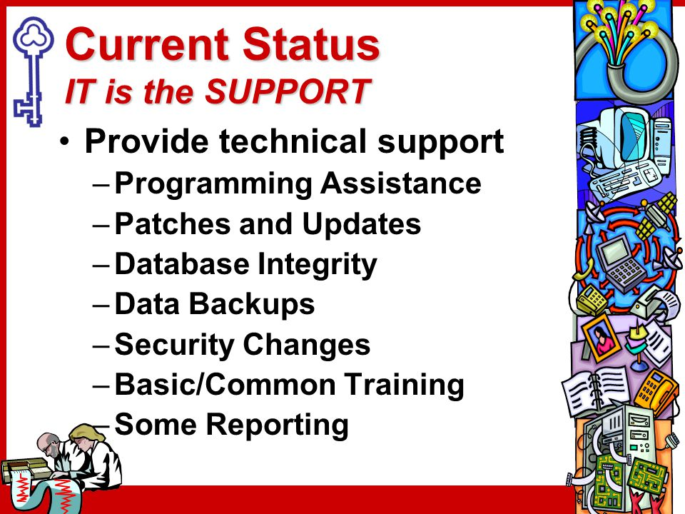 Current Status IT is the SUPPORT Provide technical support –Programming Assistance –Patches and Updates –Database Integrity –Data Backups –Security Ch